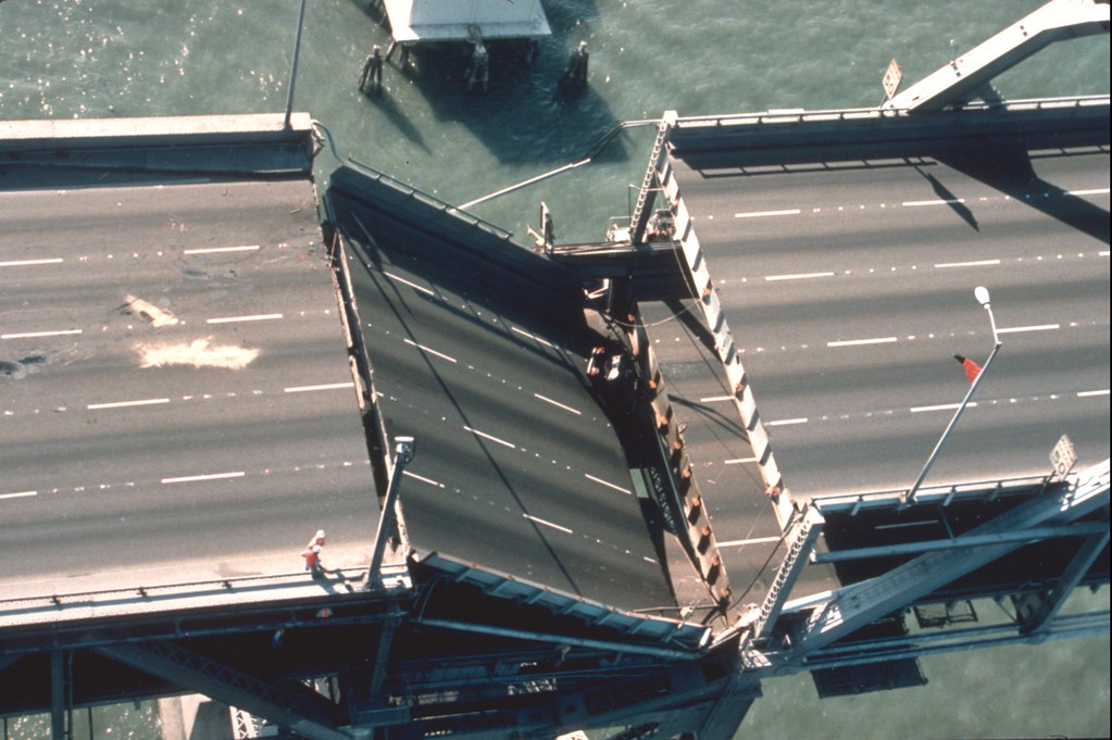 5 lane bridge cracking and broken with the top level falling onto the bottom levels