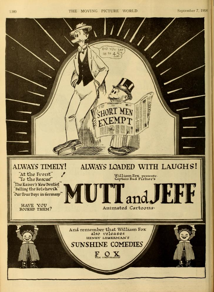 One page advertisement for Mutt and Jeff cartoon with two dolls holding up the sign and positive reviews scrolling across